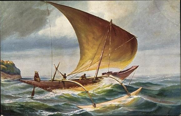 Künstler Ak Rave, Chr., Marine Galerie 161, Segelboot mit Ausleger, Ceylon