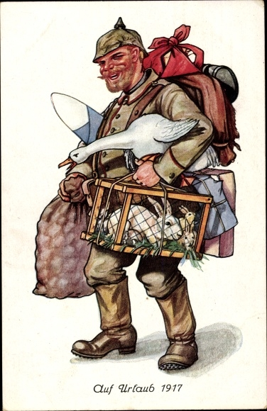 Künstler Ak Auf Urlaub 1917, Soldat in Uniform mit Hasen, Gans, Gepäck, Kartoffelsack