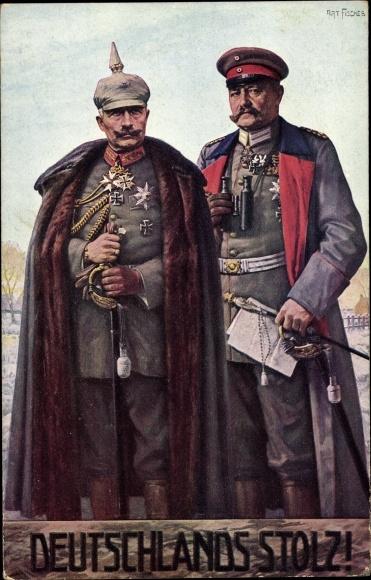 Künstler Ak Fischer, Art., Kaiser Wilhelm II. von Preußen, Generalfeldmarschall Paul von Hindenburg