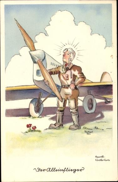 Künstler Ak Trautloft, Der Alleinflieger, Pilot neben seinem Flugzeug am Boden