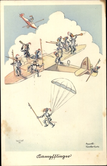 Künstler Ak Trautloft, Ritter in Rüstungen auf einem Flugzeug, Fallschirmspringer