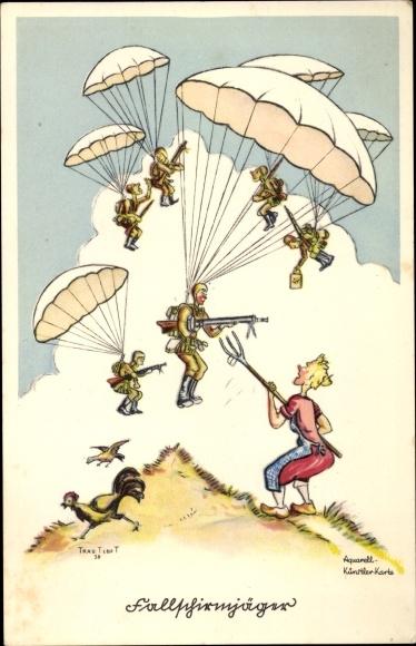 Künstler Ak Trautloft, Fallschirmjäger, Frau bedroht Fallschirmspringer mit Mistgabel