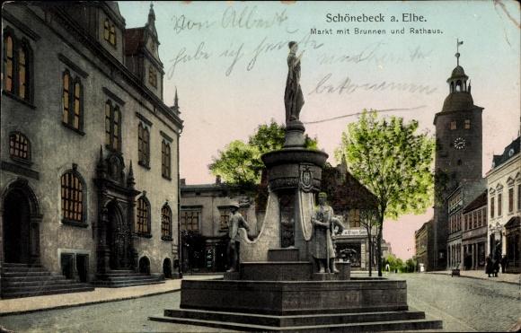 Leuchtfenster Ak Schönebeck an der Elbe, markt mit Brunnen und Rathaus