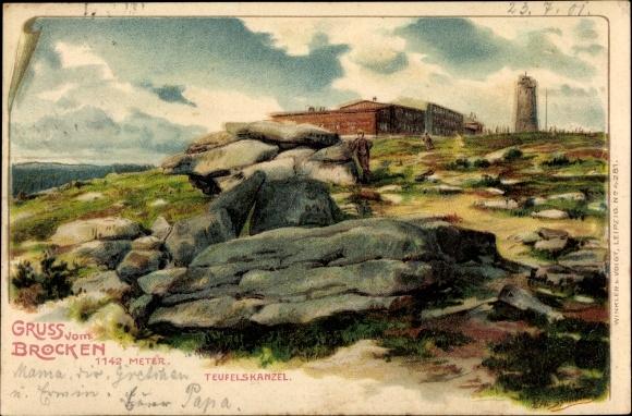 Künstler Litho Spindler, Erwin, Brocken Nationalpark Harz, Blick zur Teufelskanzel, Felspartie