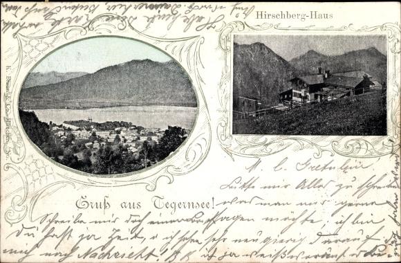 Passepartout Ak Tegernsee in Oberbayern, Hirschberg Haus, Blick über die Dächer der Stadt