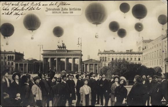 Ak Berlin, Internationale Ballon Wettfahrten 1908, Brandenburger Tor, PH Berlin 535