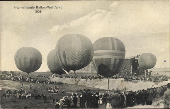 Ak Internationale Ballon Wettfahrt 1908, Fesselballons
