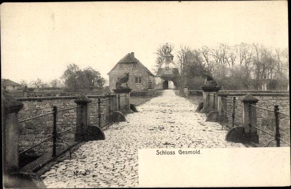 Ak Gesmold Melle in Niedersachsen, Schloss, Tor, Skulpturen