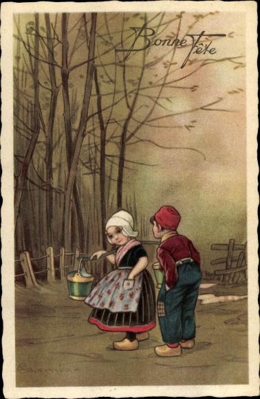 Künstler Ak Colombo, E., Zwei Kinder, Bonne Fête