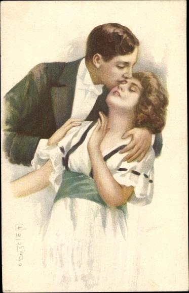 Künstler Ak Colombo, E., Liebespaar, Kuss auf die Stirn