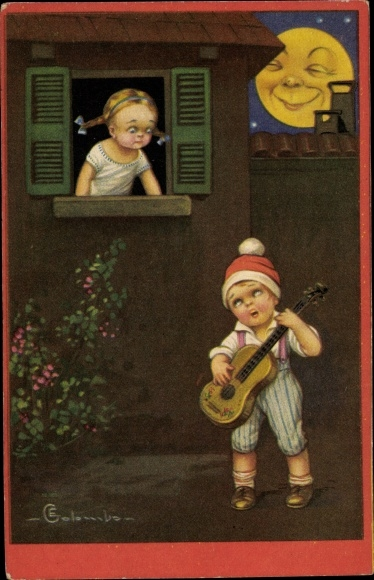 Künstler Ak Colombo, E., Junge bringt einem Mädchen ein Ständchen, Mondgesicht
