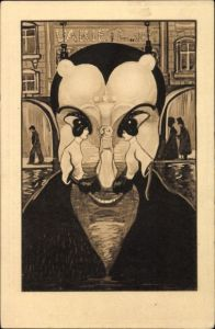 Künstler Ak Teufel, Mephisto, Junge Frau, Metamorphose