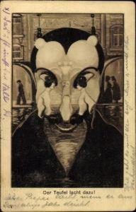 Künstler Ak Der Teufel lacht dazu, Mephisto, Junge Frau, Metamorphose