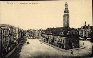 Ak Bolesławiec Bunzlau Schlesien, Niedermarkt mit Zollstraße, Rathaus, Geschäftshäuser