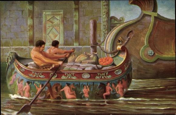 Künstler Ak Rave, Chr., Marine Galerie 168, Boot eines vornehmen Römers, um Christi