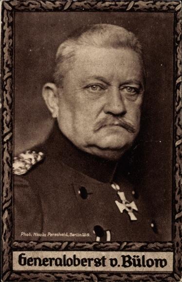 Passepartout Ak Generaloberst Karl von Bülow, Portrait in Uniform, Orden, Wohlfahrtskarte