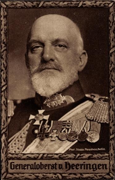 Passepartout Ak Generaloberst Josias von Heeringen, Portrait in Uniform, Orden, Wohlfahrtskarte
