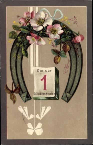 Präge Litho Glückwunsch Neujahr, 1 Januar, Abreißkalender, Hufeisen, Heckenrosenblüten