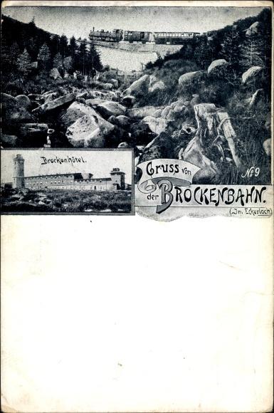 Ak Wernigerode am Harz, Brockenhotel, Dampflokomotive, Eisenbahn