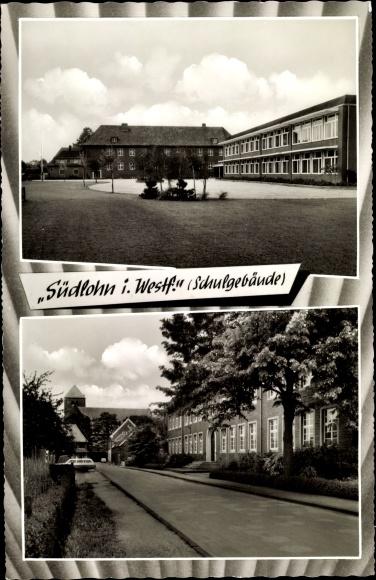 Ak Südlohn in Westfalen, Schulgebäude, Innenhof u. Straßenansicht