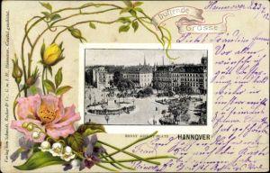 Präge Passepartout Ak Hannover in Niedersachsen, Ernst August Platz, Denkmal