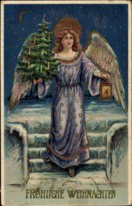 Präge Litho Glückwunsch Weihnachten, Engel mit Laterne und Tannenbaum, Mondsichel