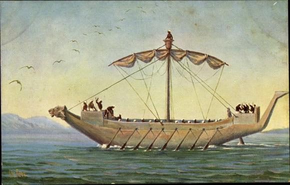 Künstler Ak Rave, Chr., Marine Galerie 144, Kriegsschiff unter Ramses III