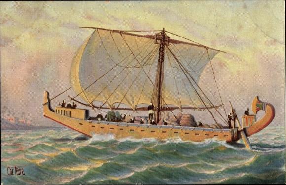 Künstler Ak Rave, Chr., Marine Galerie 10, Frachtschiff, Alt Ägypten, 1700 v. Chr.