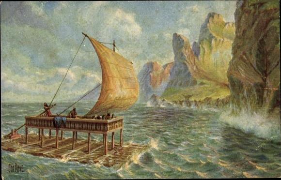 Künstler Ak Rave, Chr., Marine Galerie 145, Floß des Odysseus