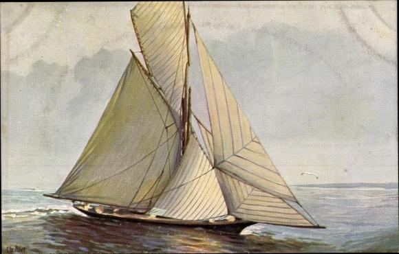 Künstler Ak Rave, Chr., Marine Galerie 167, Französische Segeljacht, Jetztzeit