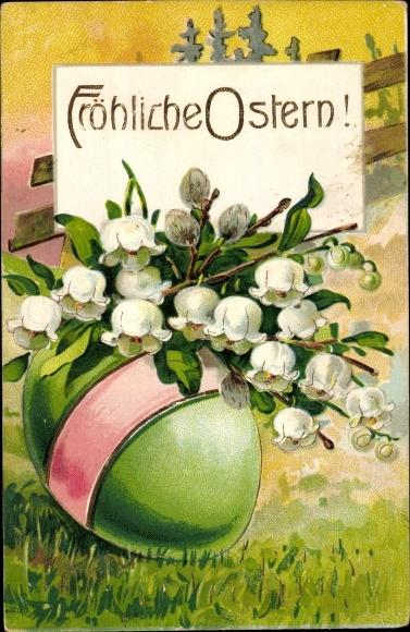 Präge Litho Glückwunsch Ostern, Grünes Osterei, Weidenkätzchen, Blumen