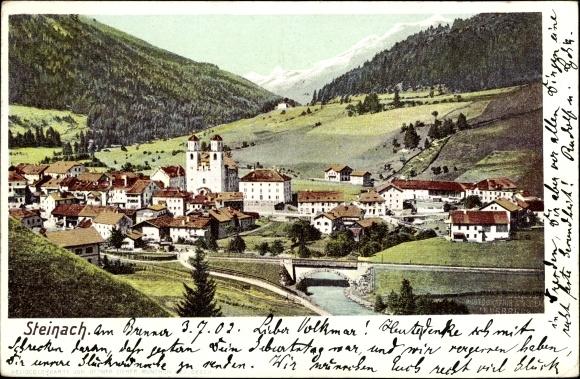 Ak Steinach am Brenner in Tirol, Kirche, Brücke, Panorama vom Ort