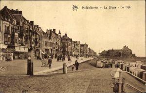 Ak Middelkerke Westflandern, La Digue, De Dijk