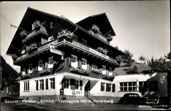 Ak Tschagguns in Vorarlberg, Gasthof Pension Sonne