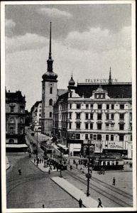 Ak Brno Brünn Südmähren, Kostelni ulice, Kirchengasse, Straßenbahnen, Kino Central