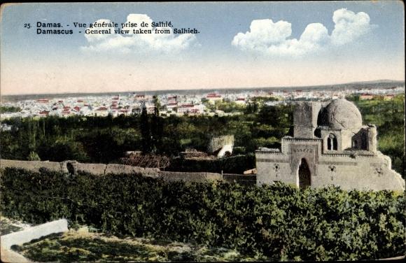 Ak Damaskus Syrien, General view taken from Salhieh, Panoramaansicht von Ortschaft