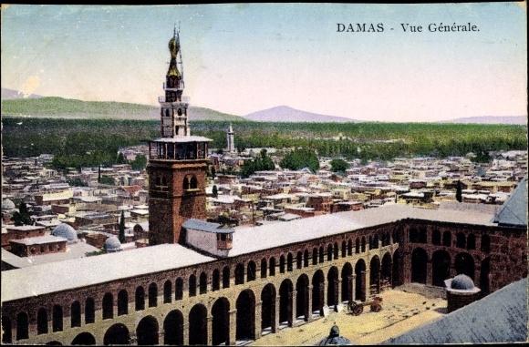Ak Damaskus Syrien, Vue Générale, Panoramaansicht von Ortschaft