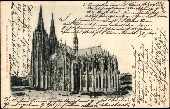 Relief Ak Köln am Rhein, Dom und Hauptbahnhof, Gesamtansicht