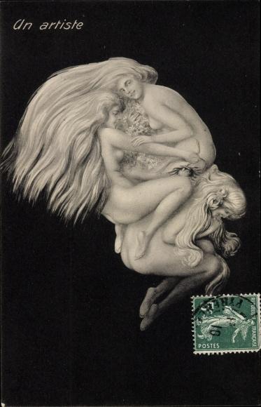 Künstler Ak Un Artiste, Künstler, Gesicht, Frauenakt, Metamorphose