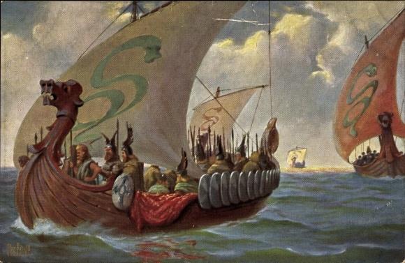 Künstler Ak Rave, Chr., Marine Galerie 18, Normannenboot, 9. Jahrhundert, Segelschiff