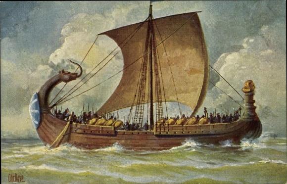 Künstler Ak Rave, Chr., Marine Galerie 136, Französisches Kriegsschiff, 10. Jahrhundert