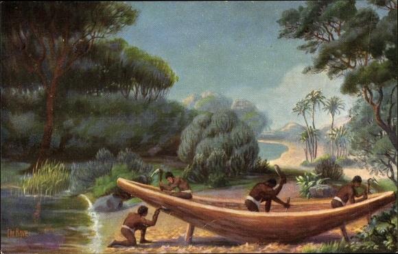 Künstler Ak Rave, Chr., Marine Galerie 197, Schiffsbau im alten Ägypten