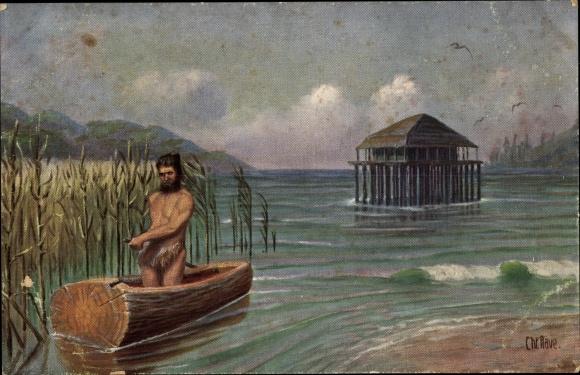 Künstler Ak Rave, Chr., Marine Galerie 11, Einbaum z. Z. der Pfahlbauten und ältester Kulturperiode