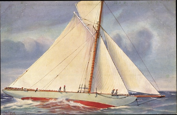 Künstler Ak Rave, Chr., Marine Galerie 21, Segeljacht Kommodore II, 19. Jahrhundert