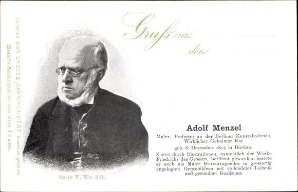 Ak Adolph von Menzel, Maler, Wirklicher Geheimer Rat, Portrait, Esser's Seifenpulver