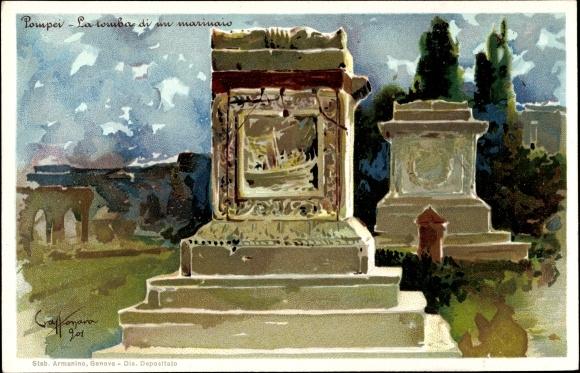 Künstler Litho Craffonara, Aurelio, Pompei Campania, La Tomba di un Marinaio