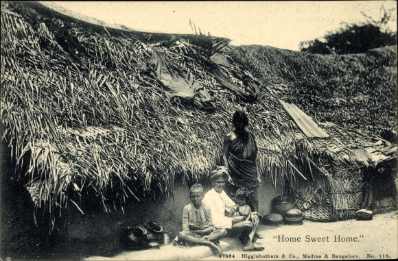 Ak Indien, Home sweet Home, Indian Family, Indische Familie