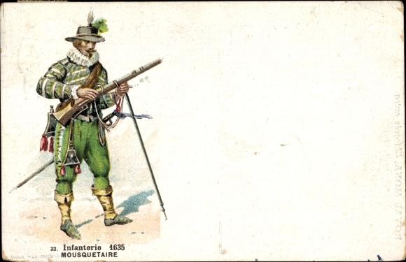 Künstler Ak Infanterie 1635, Mousquetaire, Französischer Musketier