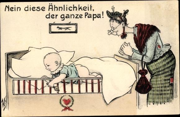 Künstler Ak Scheuermann, Willi, Nein diese Ähnlichkeit, der ganze Papa, Schwiegermutter, Kind