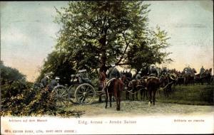 Ak Eidgenössische Armee, Armée Suisse, Artillerie en marche, Schweizer Soldaten